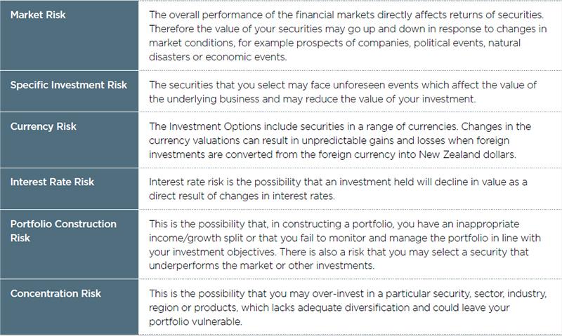 KiwiSaver investing risks table